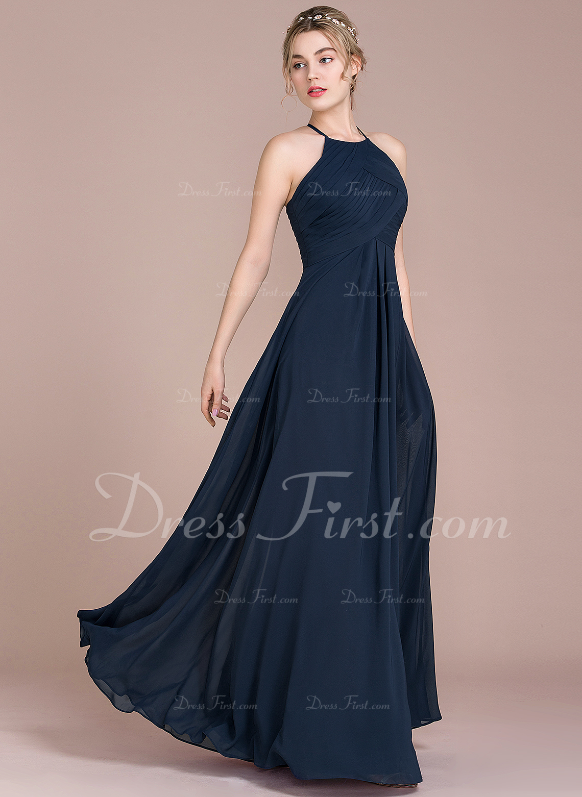 2a3c44eda8 A-Line/Princess Scoop Neck Floor-Length Chiffon Bridesmaid Dress With  Ruffle #105573. Bridesmaid Dresses