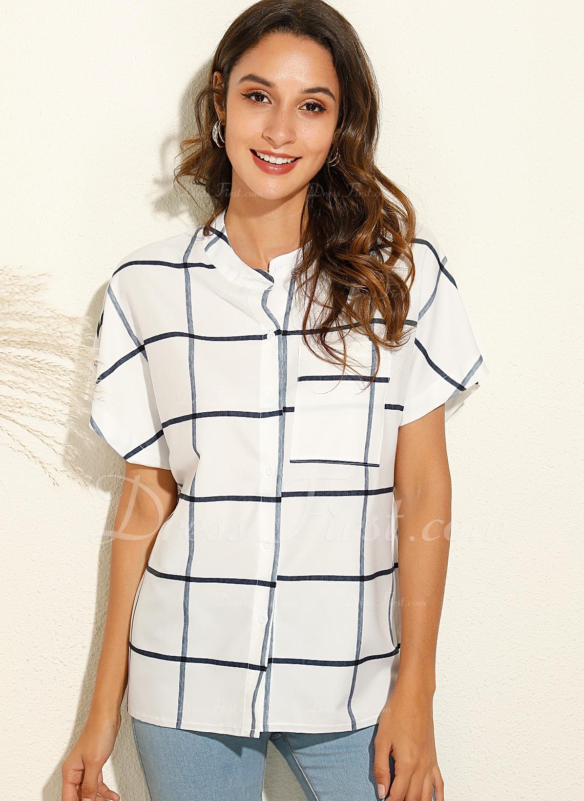 Stampa Scollatura a V Maniche corte Bottone Casuale Shirt and Blouses