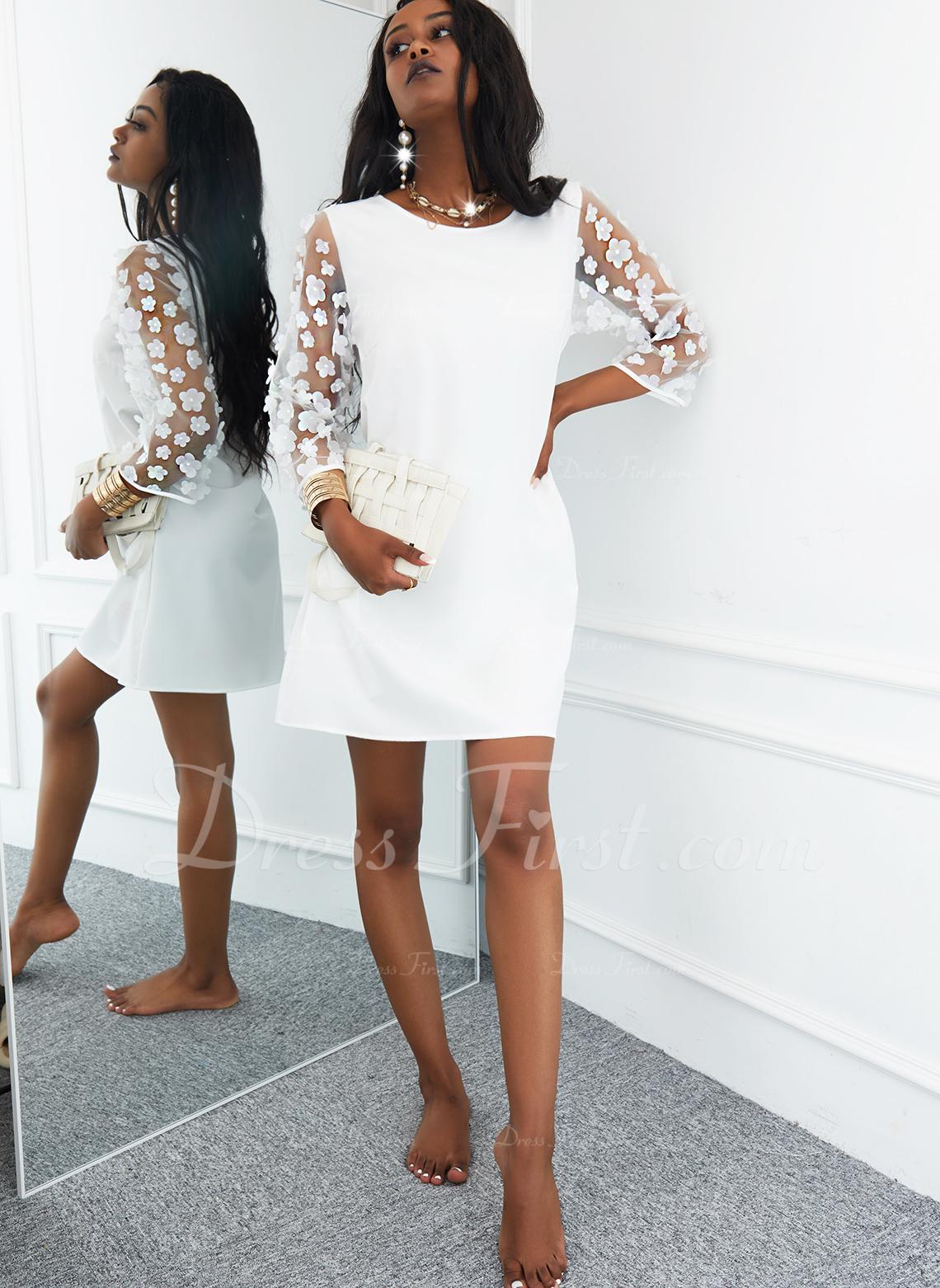 固体 シフトドレス 3/4袖 ミニ カジュアル チュニック ファッションドレス