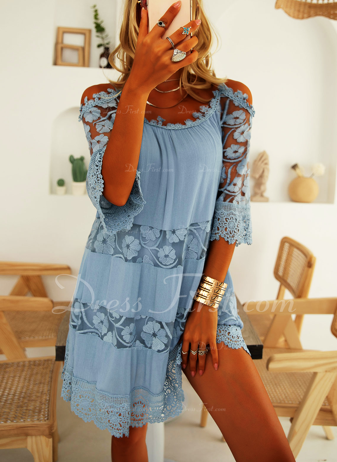 Lace Solid Shift 3/4 Sleeves Cold Shoulder Sleeve Mini Casual Vacation Tunic Dresses