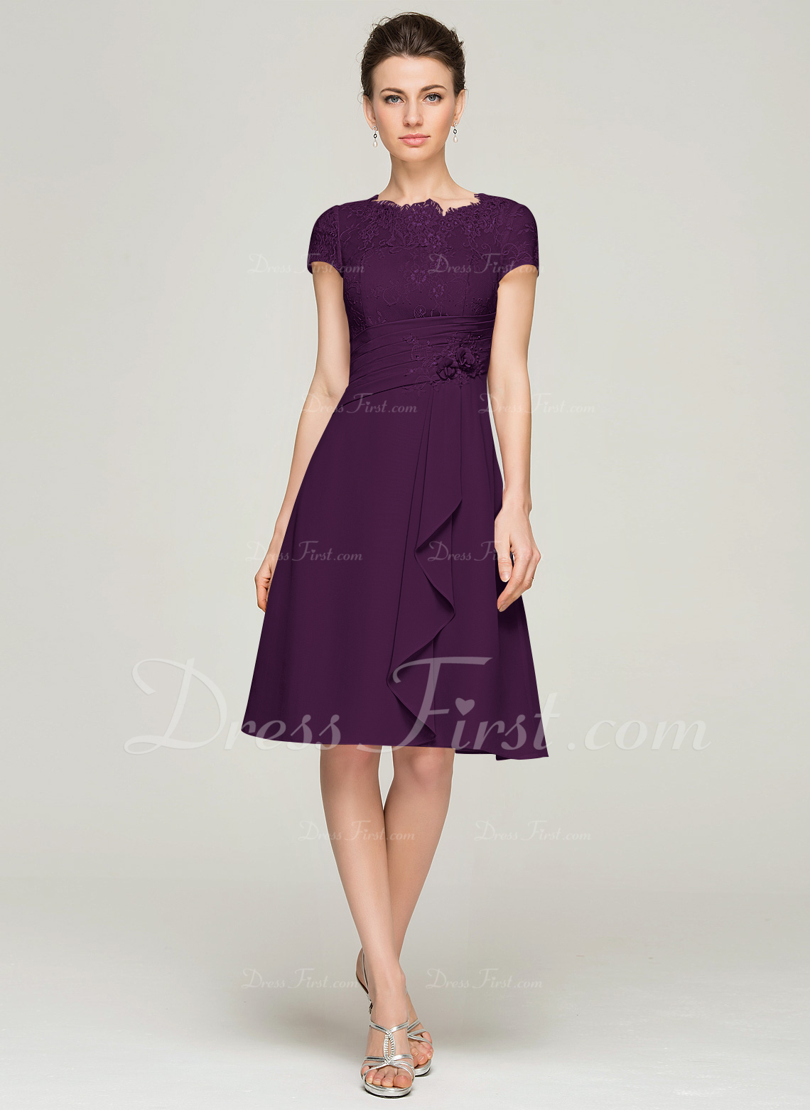b5f0ac749d Mother of the Bride Dresses; #62576. Loading zoom. Loading. Color: Grape.  A-Line/Princess Scoop Neck Knee-Length Chiffon Lace ...