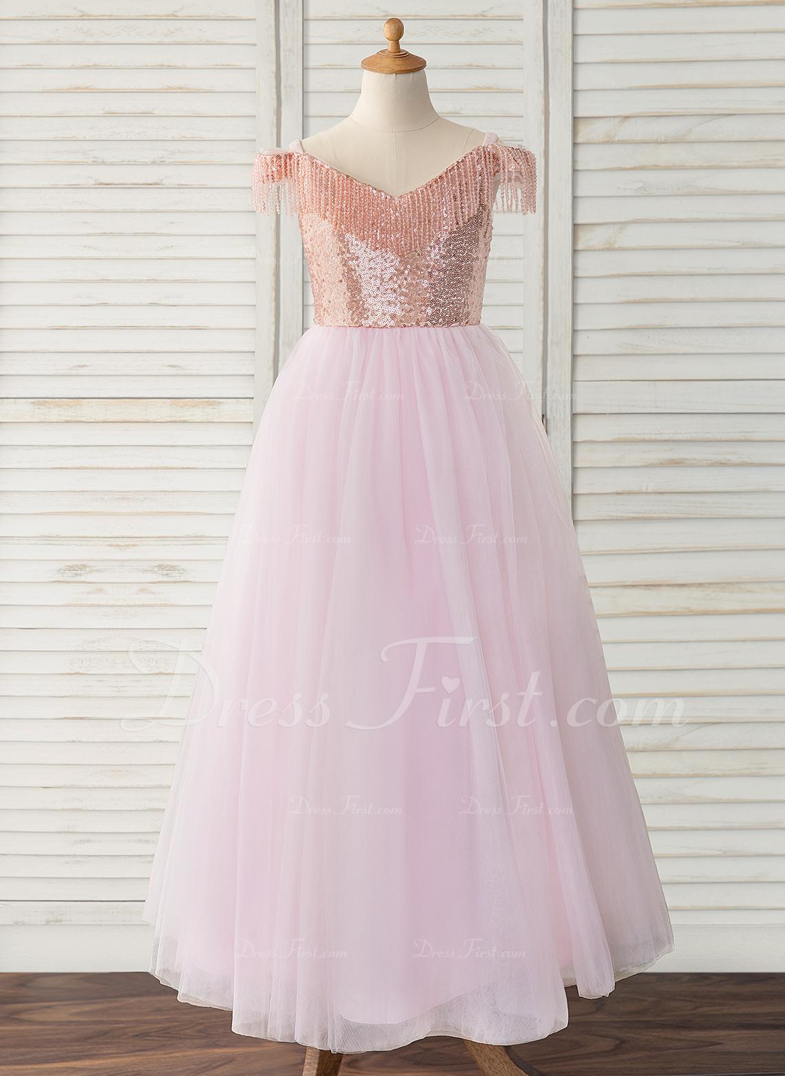 99e3615d1 De Baile Princesa Longos Vestidos de Menina das Flores - Tule ...