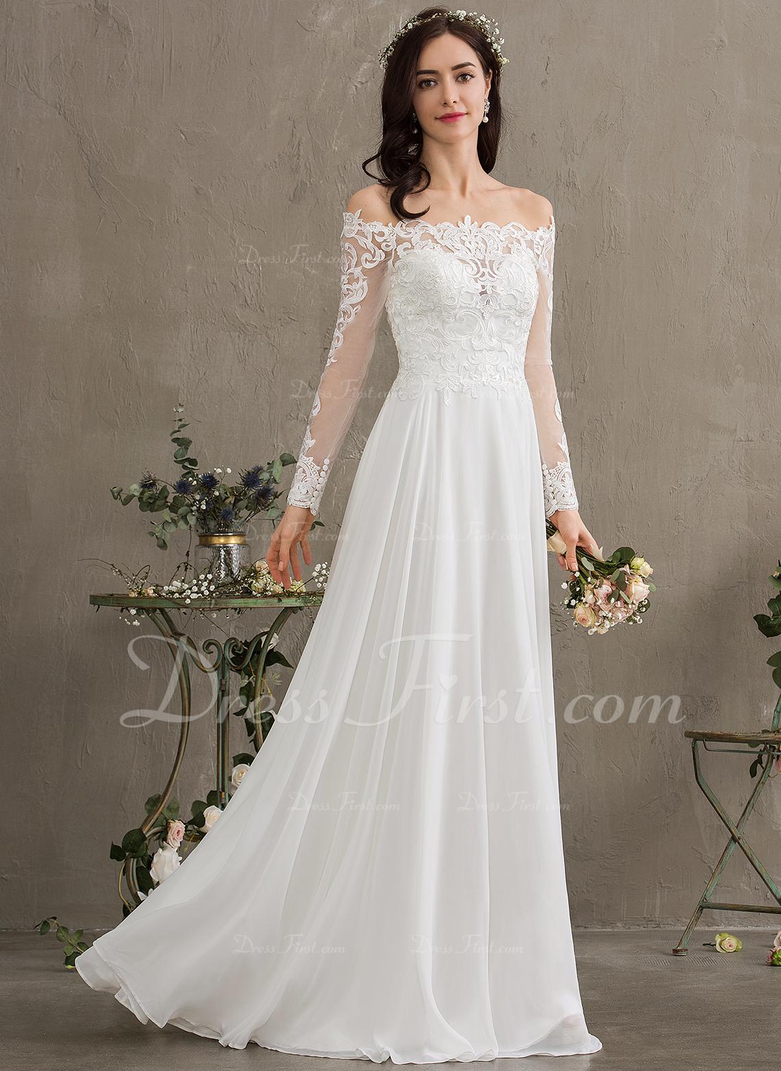 A-Line Off-the-Shoulder Floor-Length Chiffon Wedding Dress