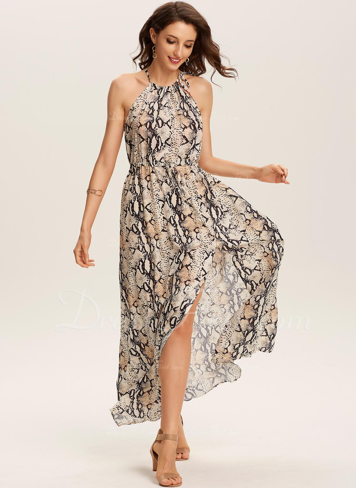 Sukienka Trapezowa Wiązana na szyi Poliester Modne Suknie
