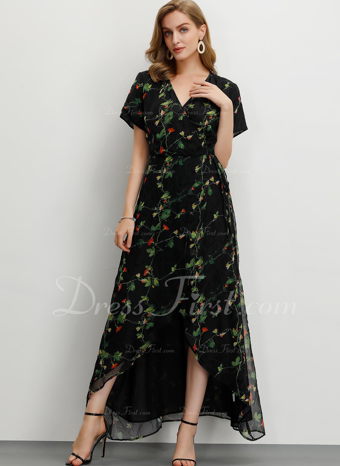 Szyfon Z Wydrukować/Rozcięcie Maxi Sukienka