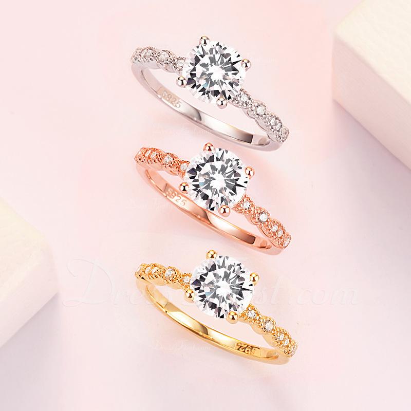Sterling zilver Zirconia Sierlijk Halo Ronde Snede Verlovings ringen Belofte ringen