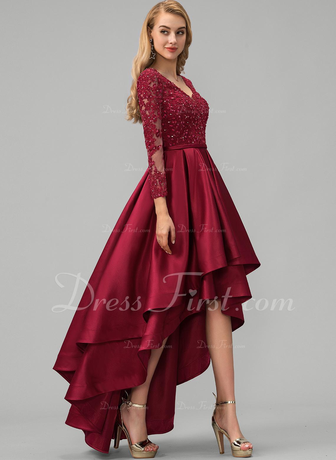 Платье для Балла/Принцесса V-образный асимметричный Атлас Платье Для Выпускного Вечера с Кружева развальцовка блестки
