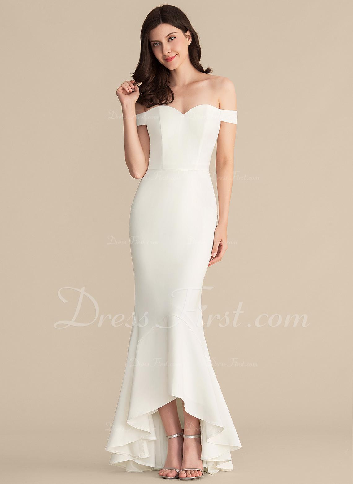 Trumpet/Mermaid Off-the-Shoulder Asymmetrical Stretch Crepe Wedding Dress