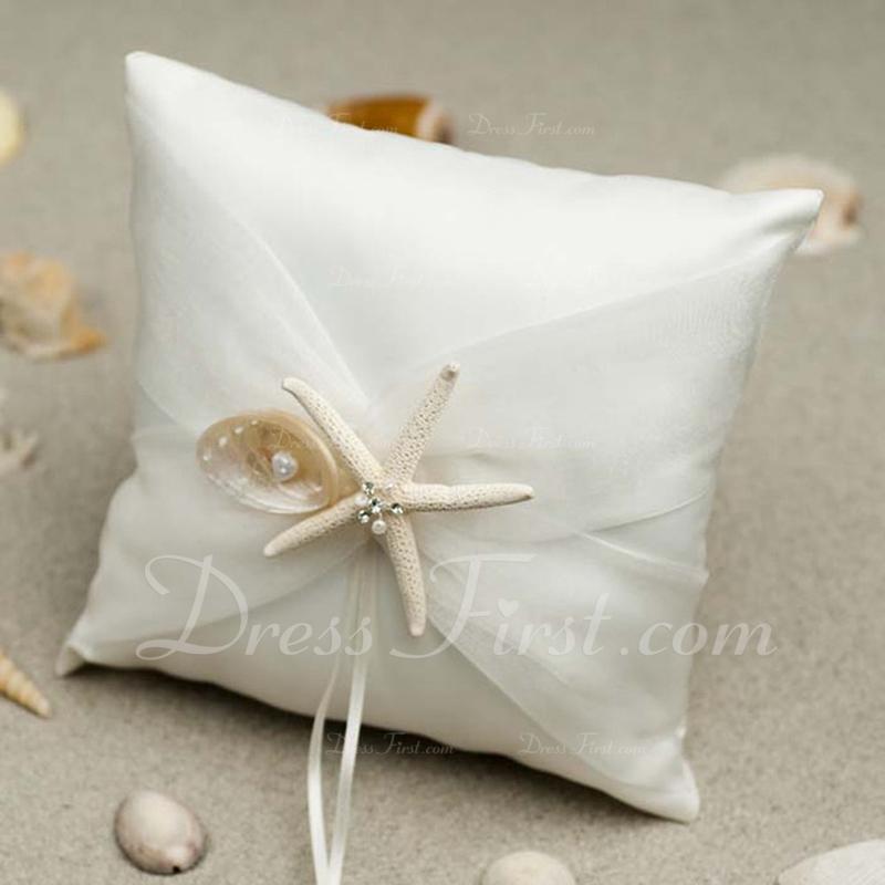 прекрасный Кольцо подушки в Ткань с Морская звезда и раковина