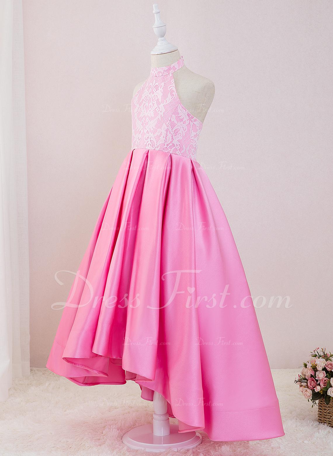 プリンセスライン 非対称 フラワーガールのドレス - サテン/レース 袖なし ホルター