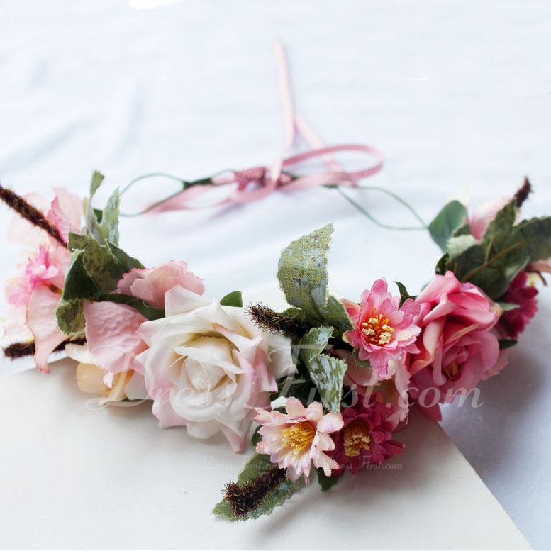 Hermoso Flores de seda/Simulación Rattan Diademas