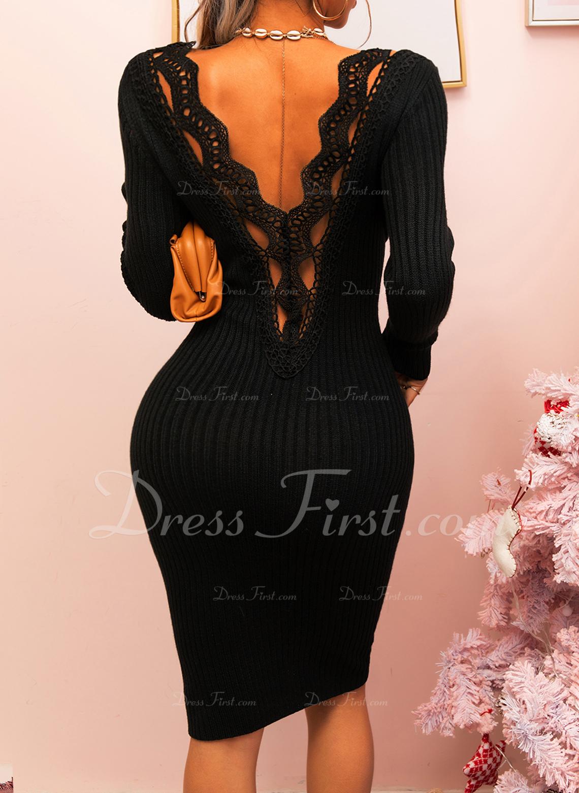Spets Solid Åtsittande Långa ärmar Midi Den lilla svarta Fritids Elegant Penna Modeklänningar