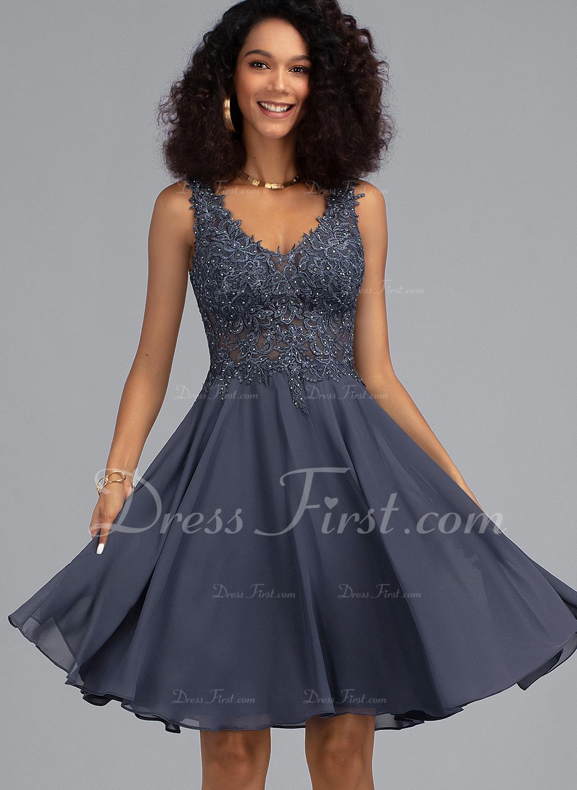A-Line V-neck Knee-Length Chiffon Cocktail Dress With Beading