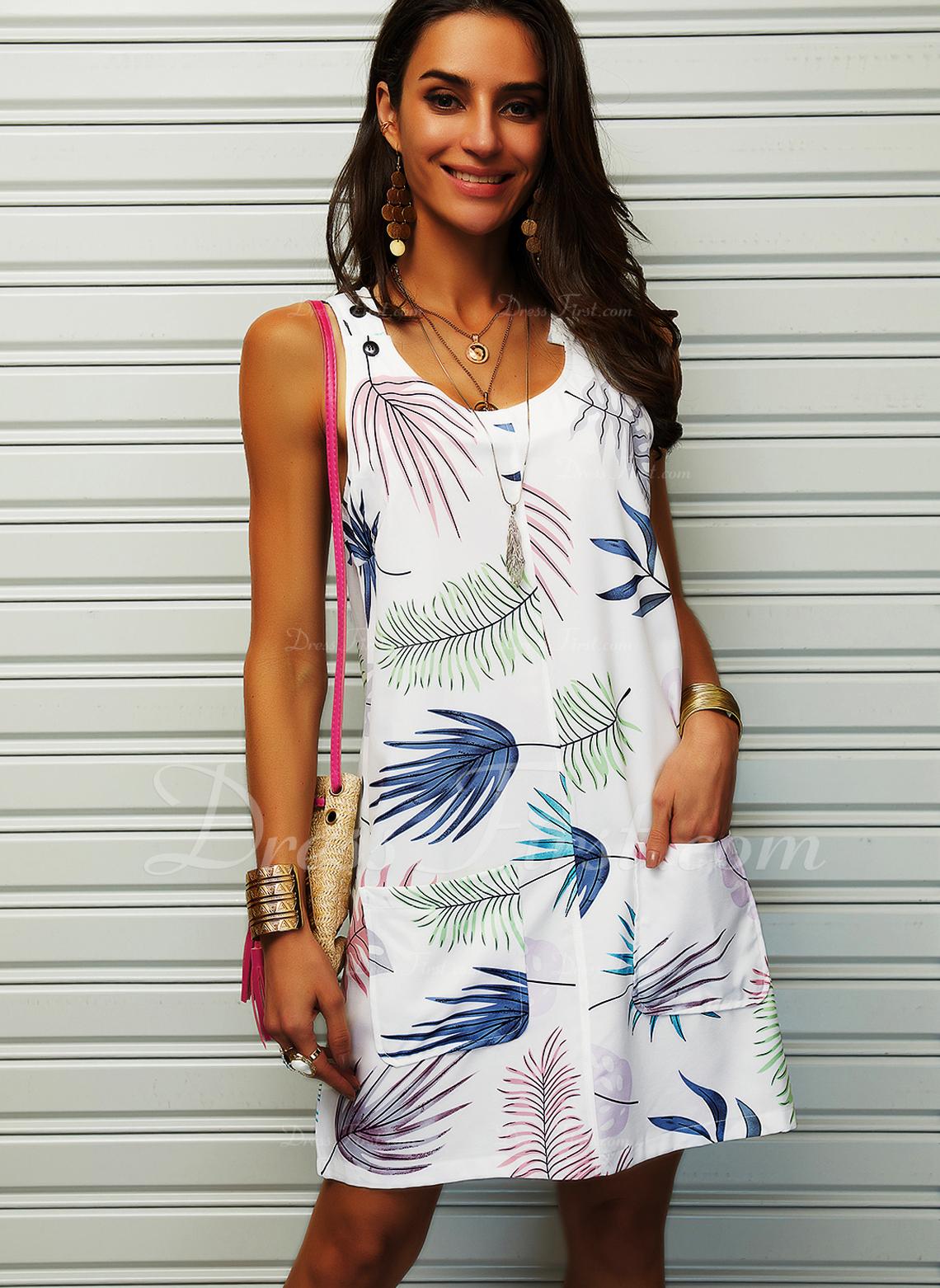 印刷 シフトドレス ノースリーブ ミニ カジュアル 休暇 タンク ファッションドレス