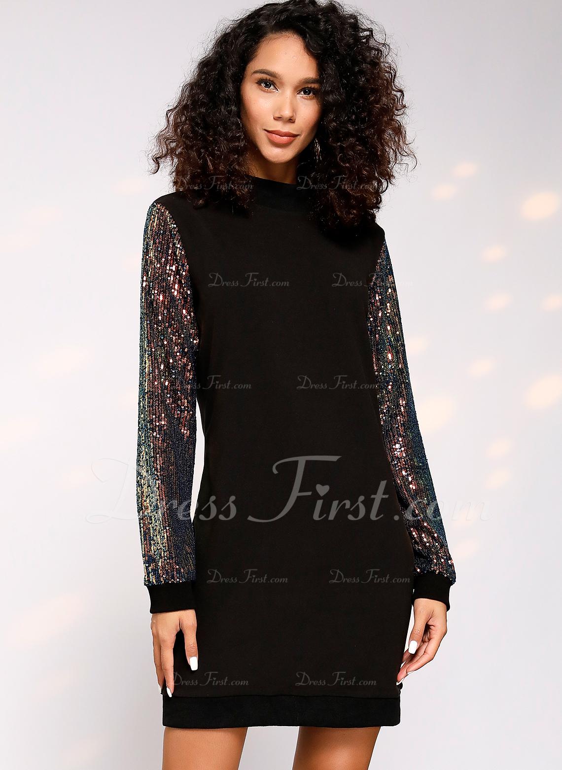 スパンコール シフトドレス 長袖 ミディ カジュアル チュニック ファッションドレス