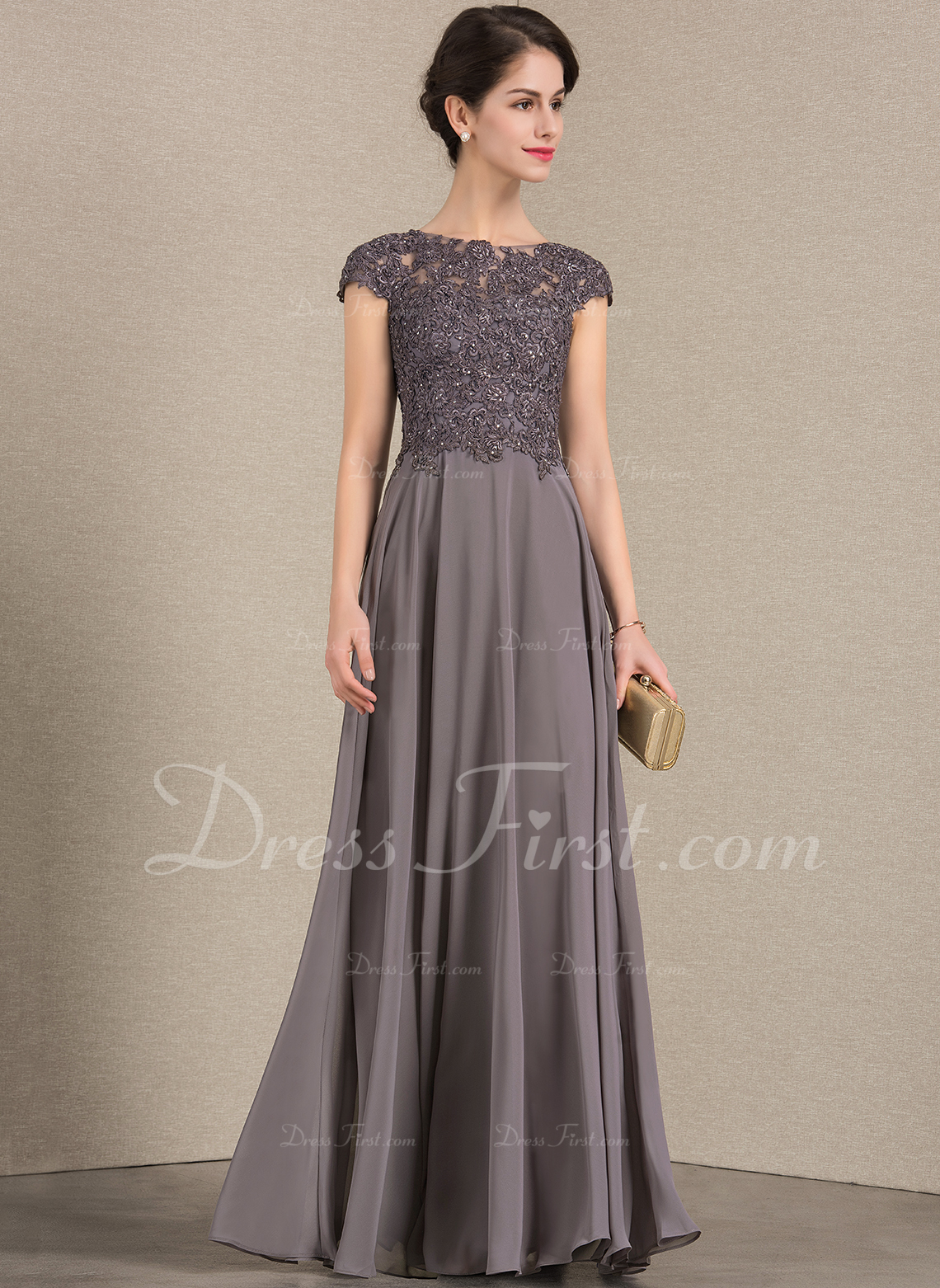 99a01a21e8e A-Line Princess Scoop Neck Floor-Length Chiffon Lace Mother of the Bride  Dress With Beading  143385