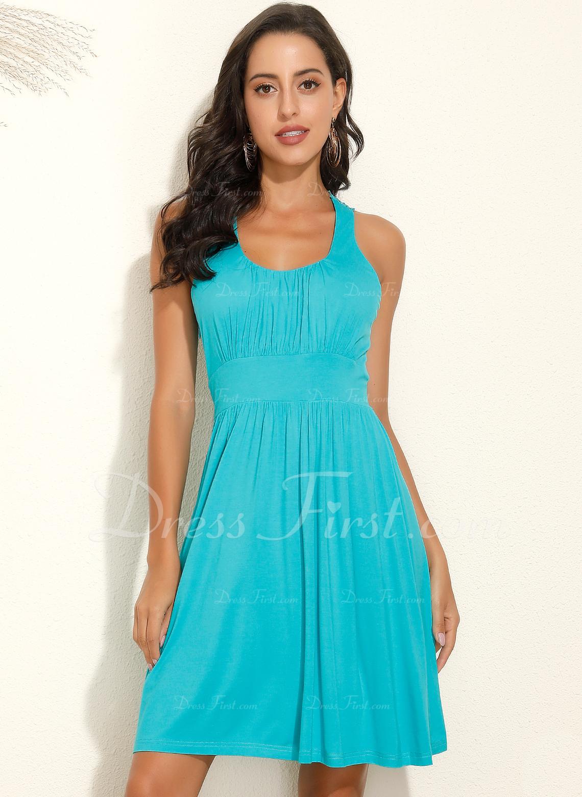 Over Knee Strap Polyester Solid Uden Ærmer Mode kjoler