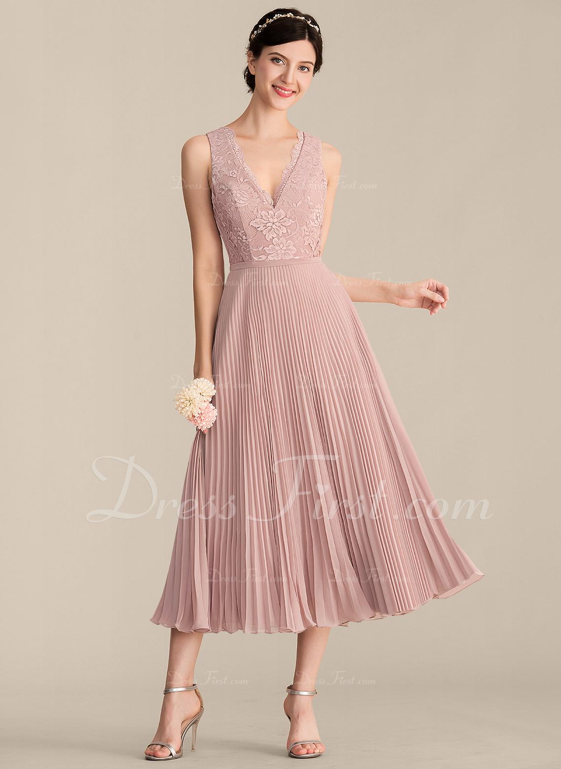 A-Line/Princess V-neck Tea-Length Chiffon Lace Bridesmaid Dress With Pleated