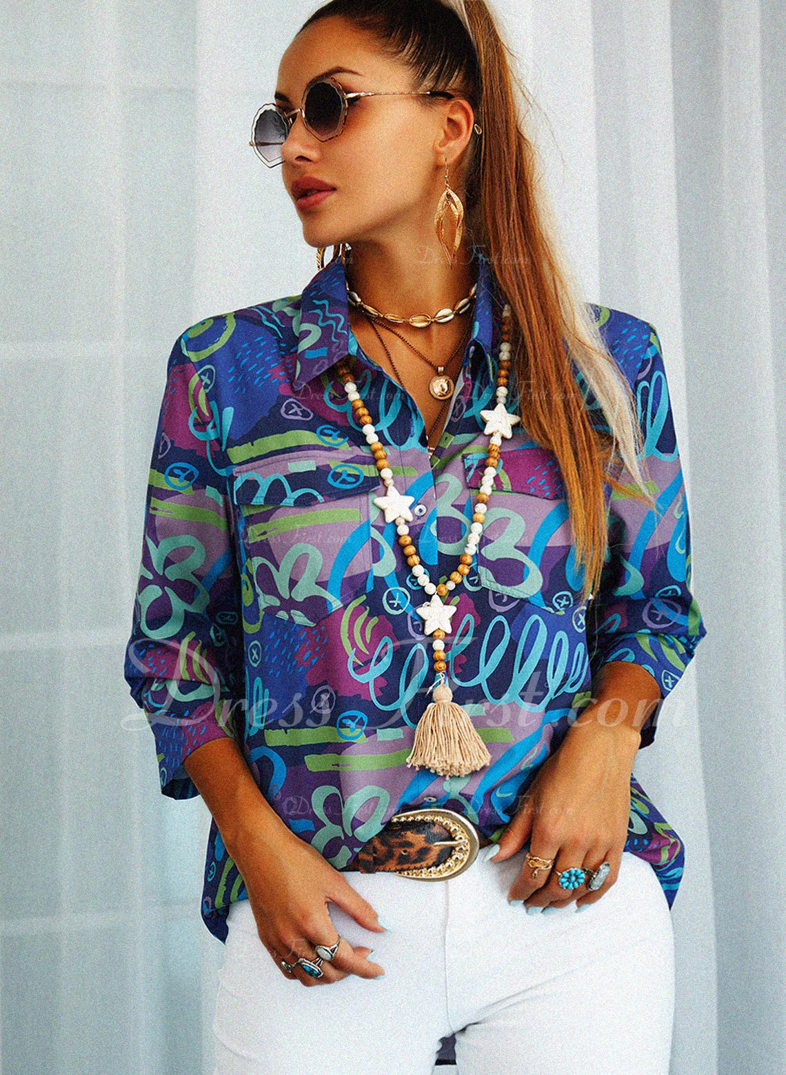 Print Lapel Lange ærmer Button-up Casual Shirt Skjorter