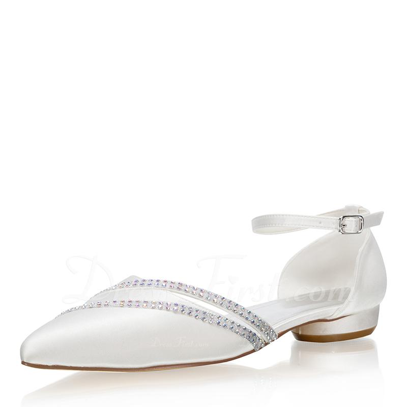 Femmes Tissu Talon plat Bout fermé Chaussures plates avec Boucle Cristal