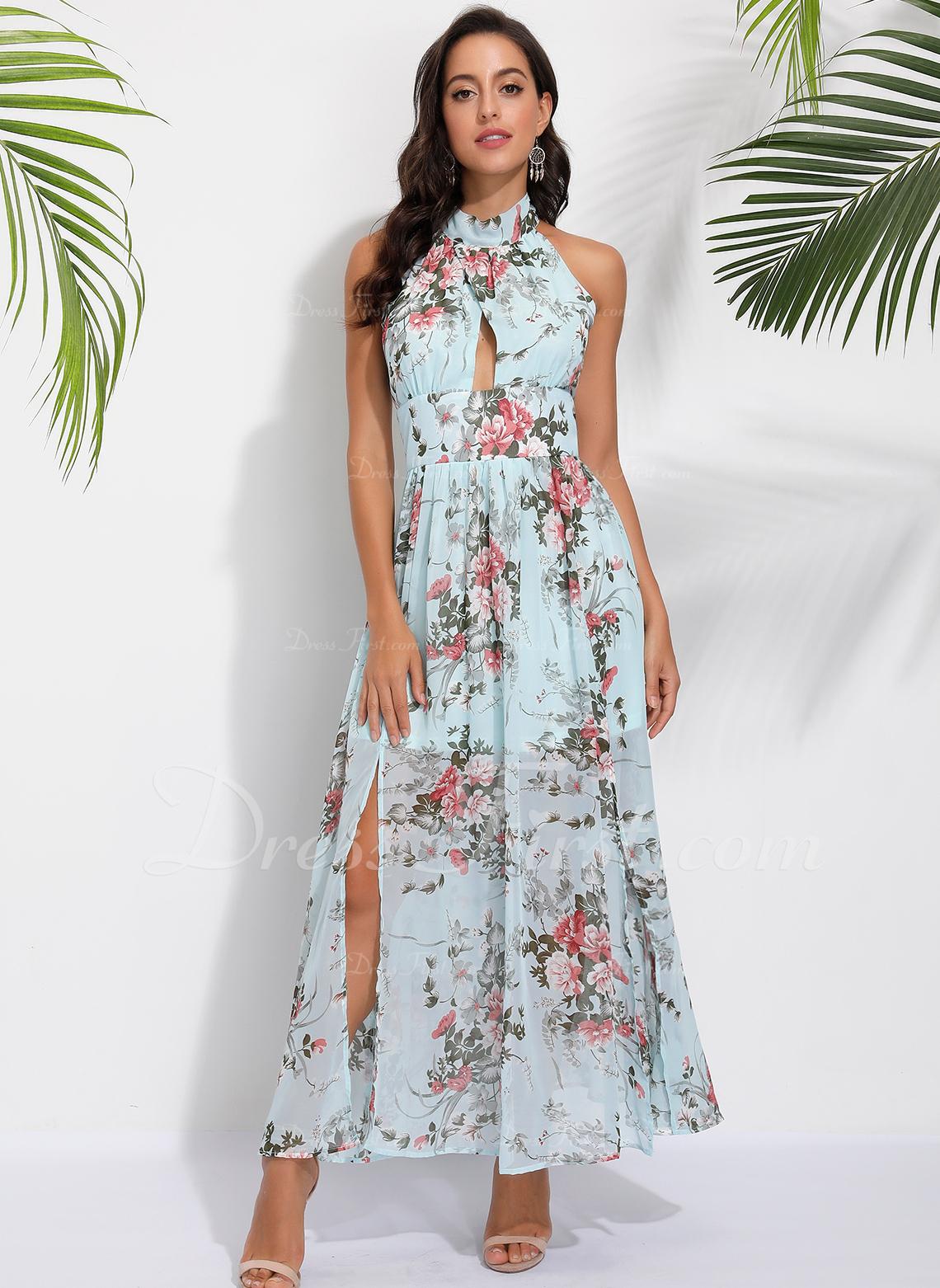 Floral Print Halter Sleeveless Maxi Dresses
