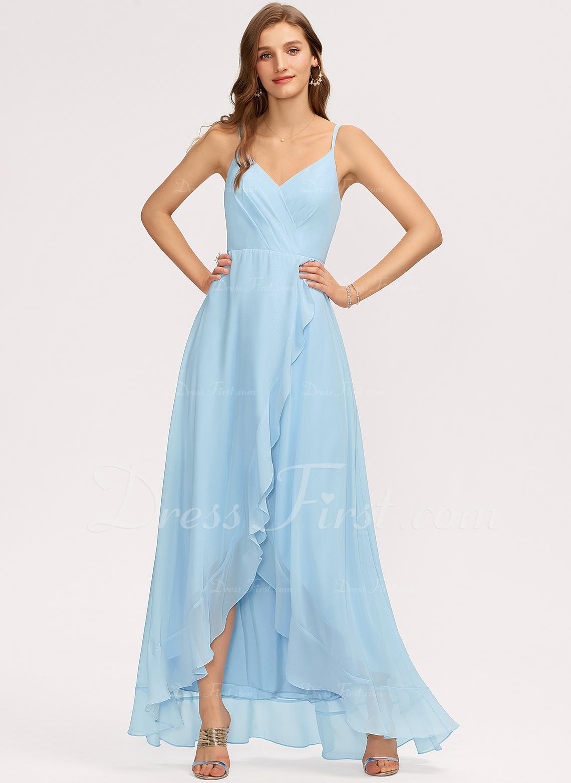 A-Line V-neck Asymmetrical Chiffon Prom Dresses With Cascading Ruffles
