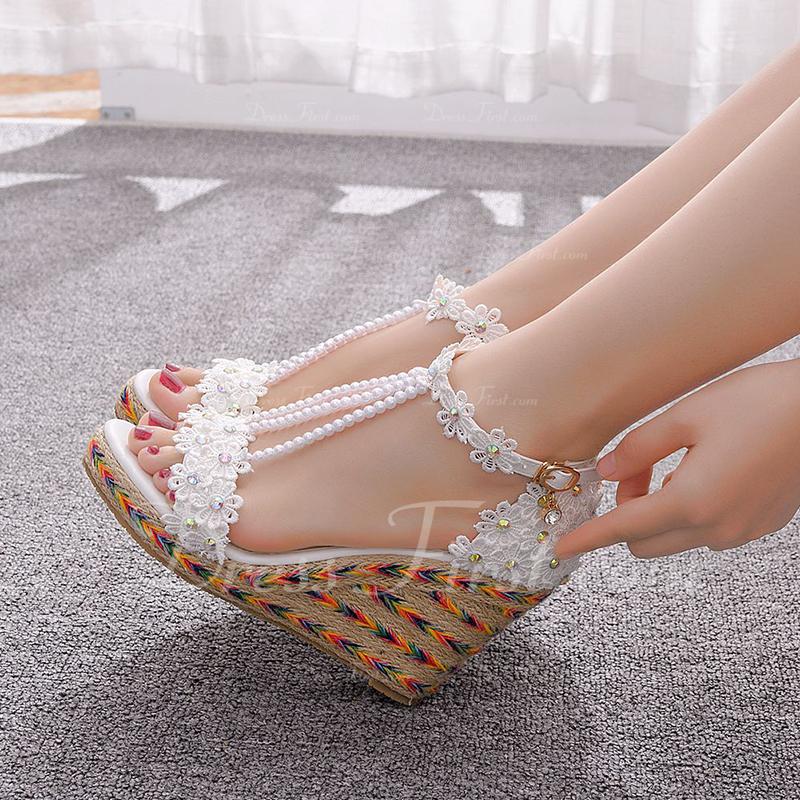 Kids' Leatherette Wedge Heel Flip-Flops Peep Toe Platform Sandals Wedges Beach Wedding Shoes With Imitation Pearl Sequin Flower Applique