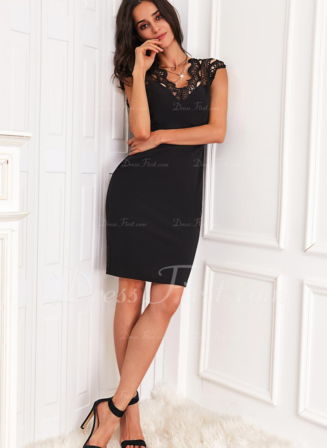 Sólido Cubierta Manga Corta Midi Pequeños Negros Casual Elegante Vestidos de moda