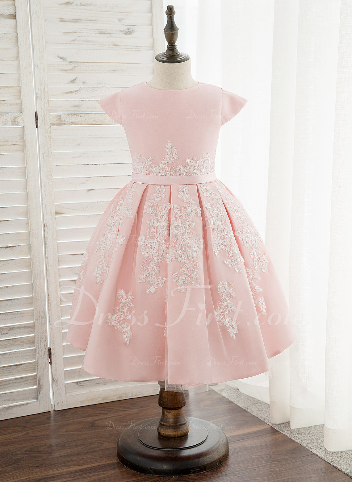 40e27879c A-Line Knee-length Flower Girl Dress - Satin/Lace Sleeveless Scoop Neck  #172336. Flower Girl Dresses