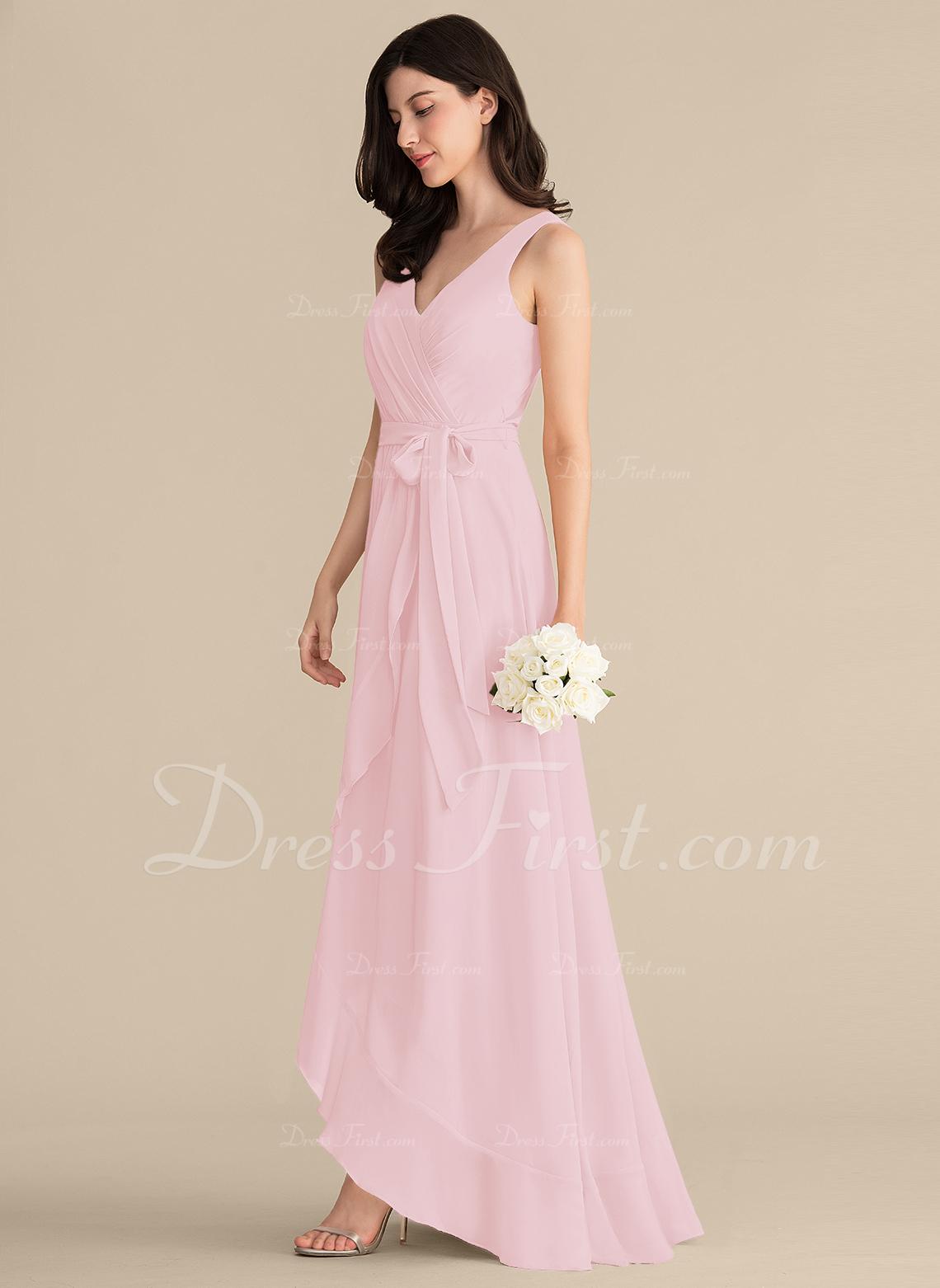 c8318e7059 Loading zoom. Loading. A-Line Princess V-neck Asymmetrical Chiffon Prom  Dresses With Ruffle ...