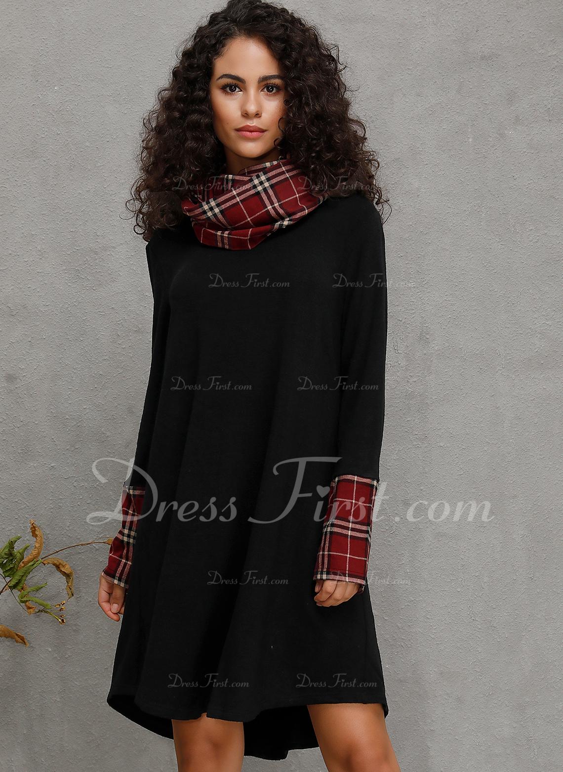 Hasta la rodilla cuello de la capucha mezcla de algodón Mangas Largas Tela escocesa Vestidos de moda