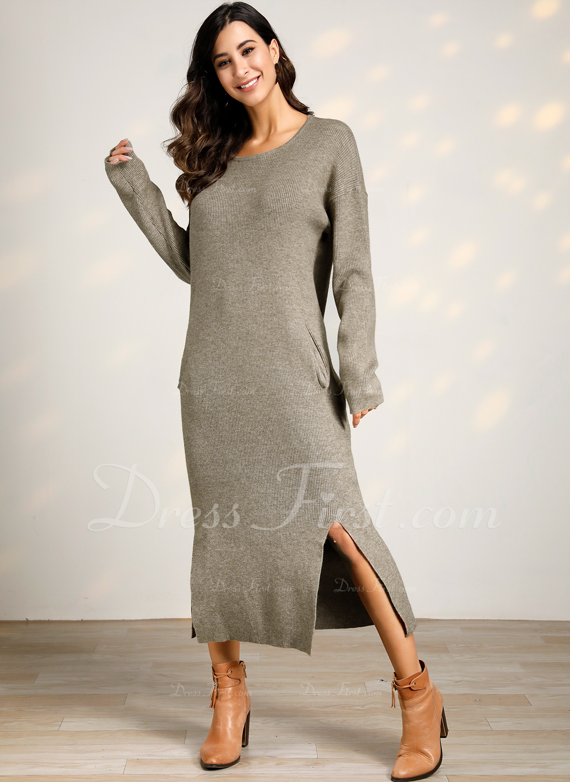 Round Neck Casual Long Solid Chunky knit Ribbed Sweaters