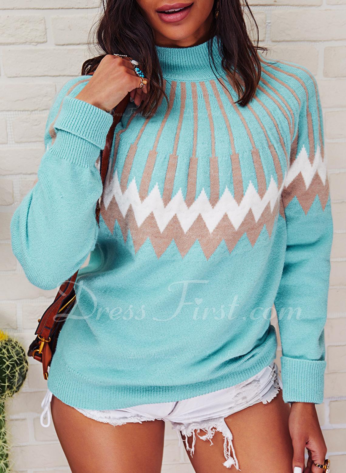 Cuello de Soporte Casual Impresión Suéteres