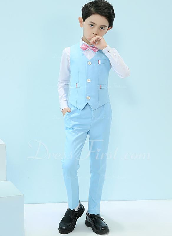 Chlapci 4 kusy Elegantní Obleky pro nosiče prstenů /Page Boy Obleky S Košile Západ Kalhoty smyčka