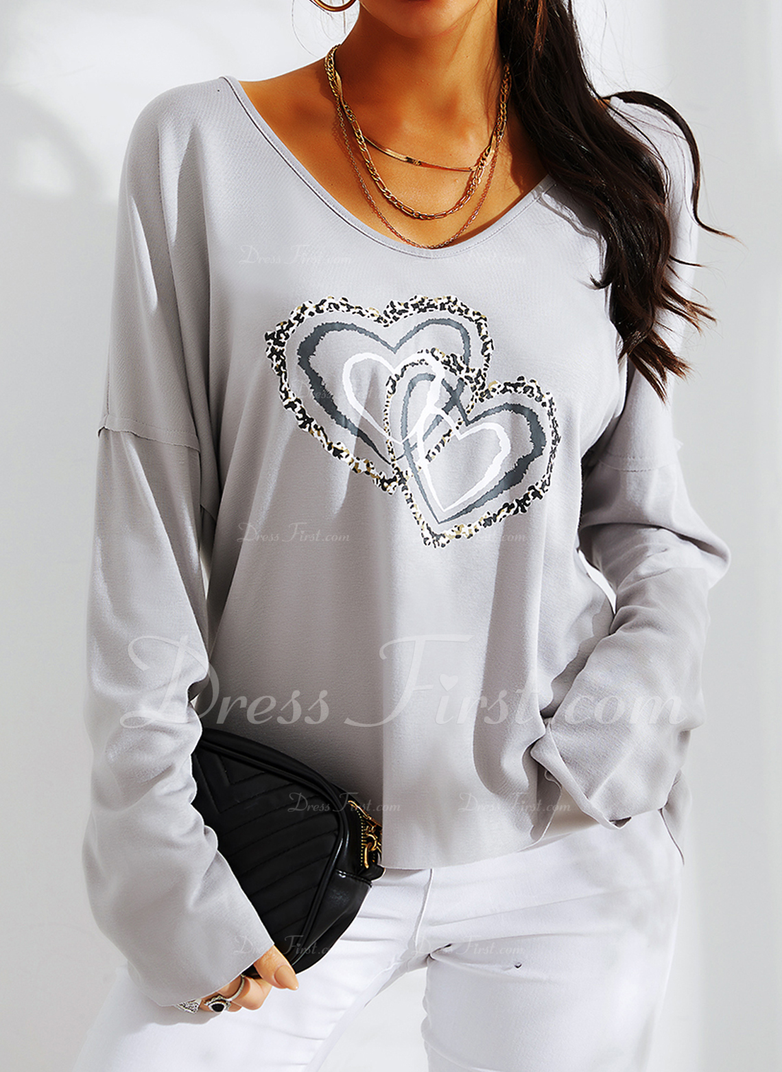 Print Sequins Heart V-Neck Long Sleeves Casual T-shirt