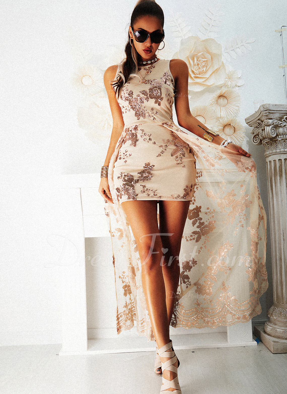 Sequins A-line Sleeveless Maxi Party Elegant Skater Dresses
