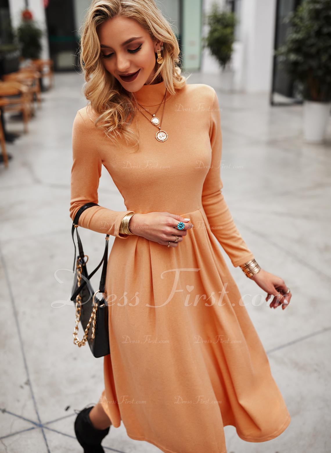 Einfarbig A-Linien-Kleid Lange Ärmel Midi Elegant Skater Modekleider