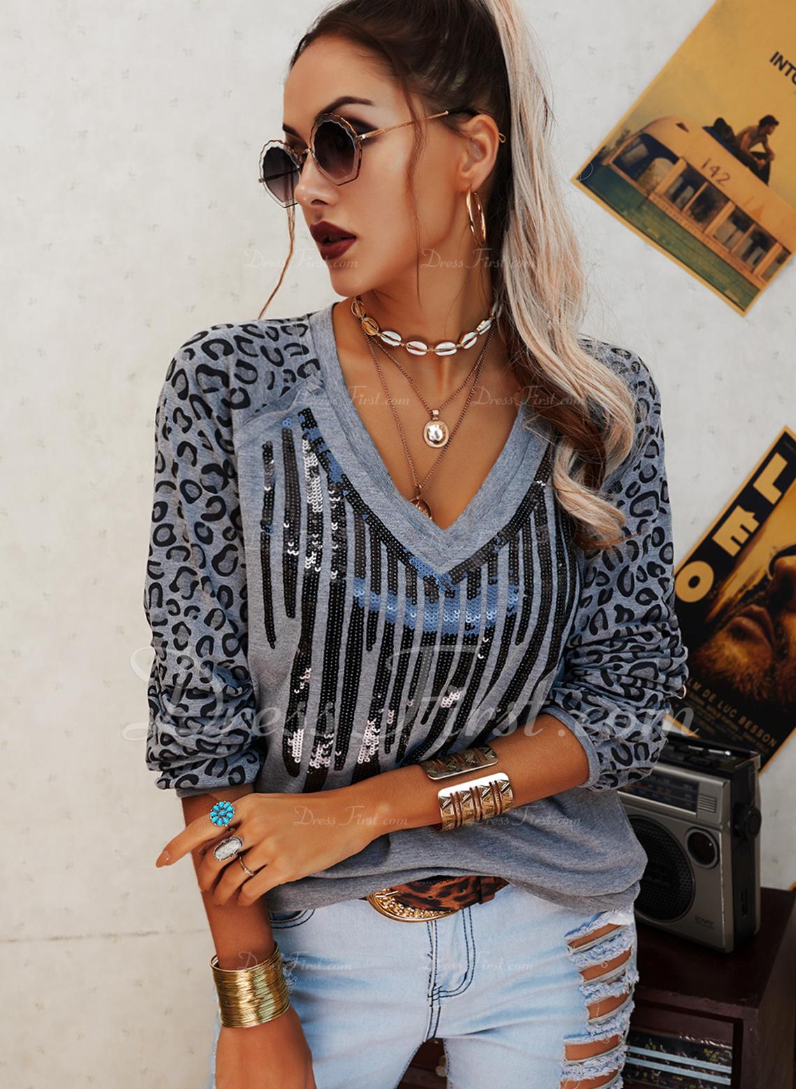 Leopard Pailletten V-Ausschnitt Lange Ärmel Lässige Kleidung T-shirt