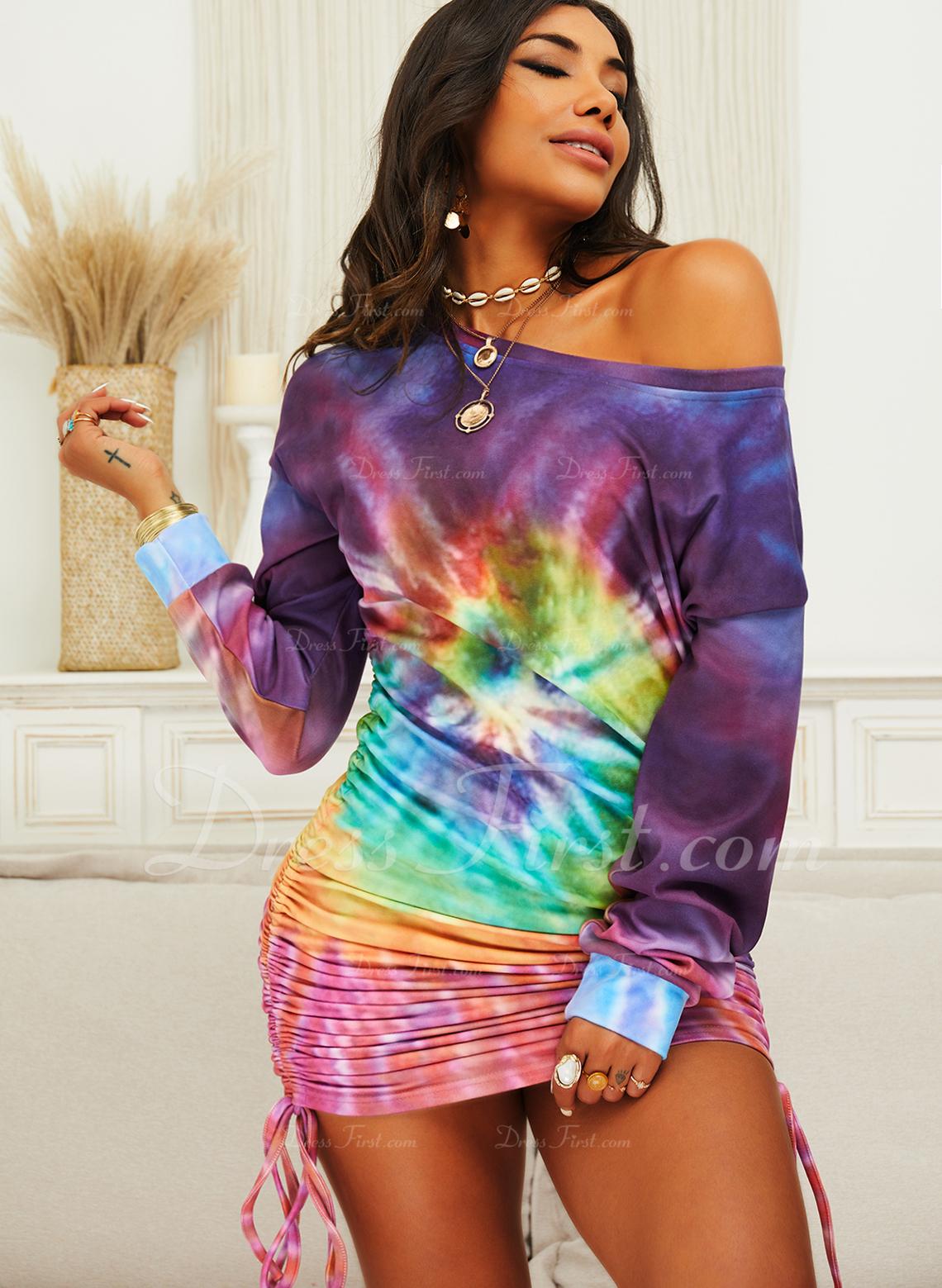 Tie Dye Bodycon Lange ærmer Mini Casual Sweatshirts Mode kjoler