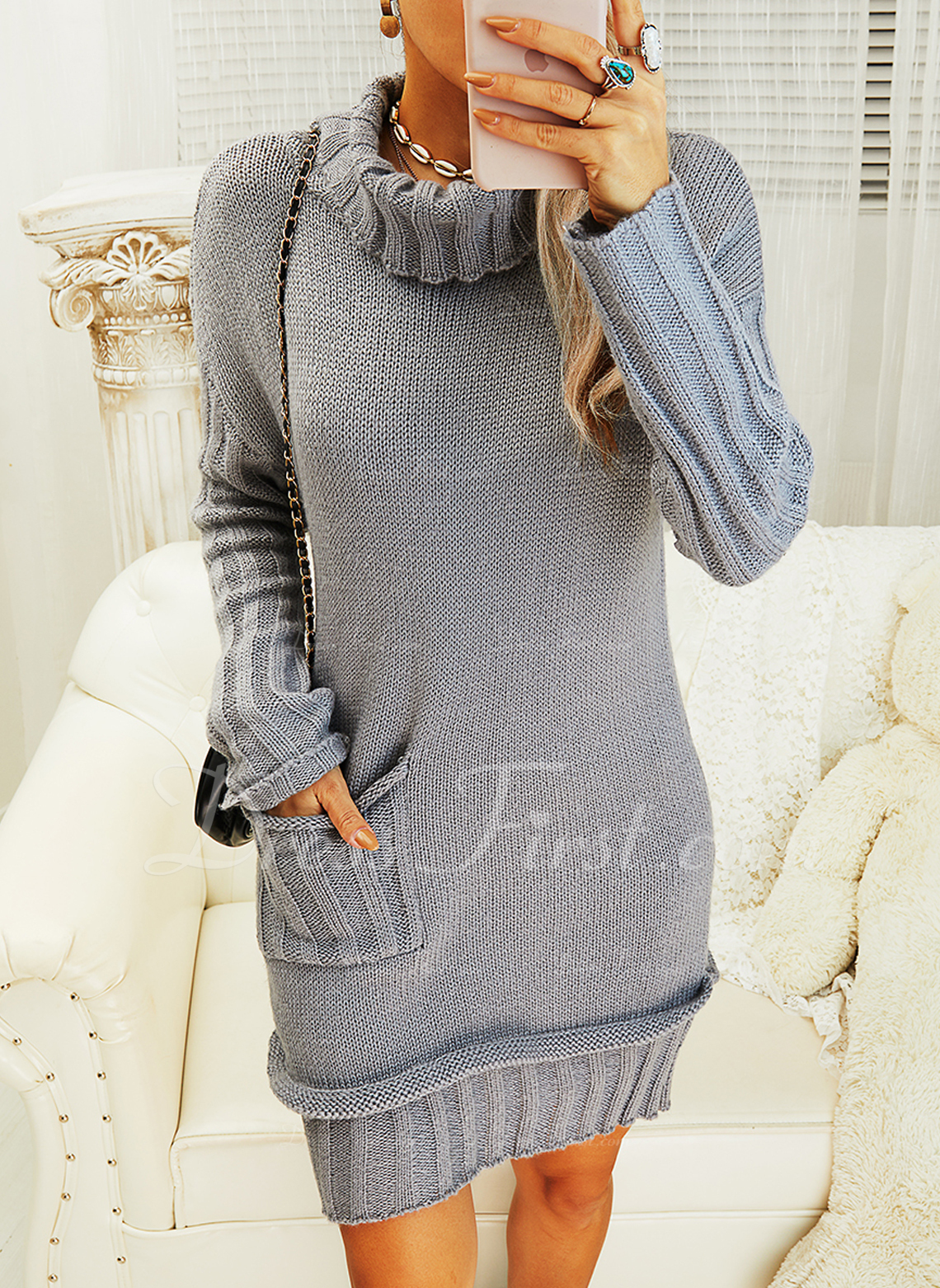Turtleneck Casual Long Solid Pocket Sweaters