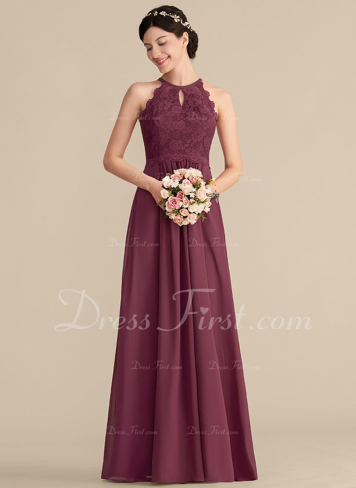 85d8c3a6ecf A-Line Princess Scoop Neck Floor-Length Chiffon Lace Bridesmaid Dress   153307