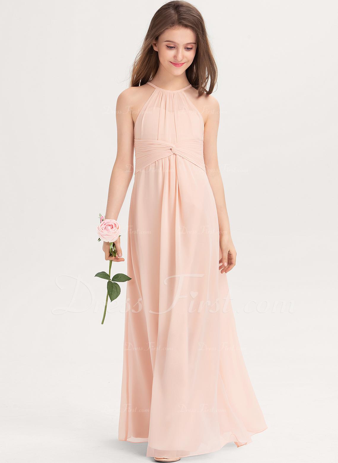 A-Line Scoop Neck Floor-Length Chiffon Junior Bridesmaid Dress With Ruffle