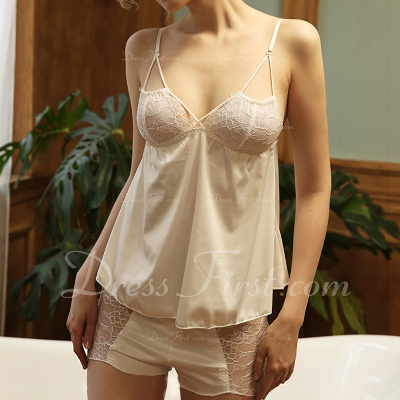 Bridal/Feminine Gorgeous Polyester Backless Cami Sets