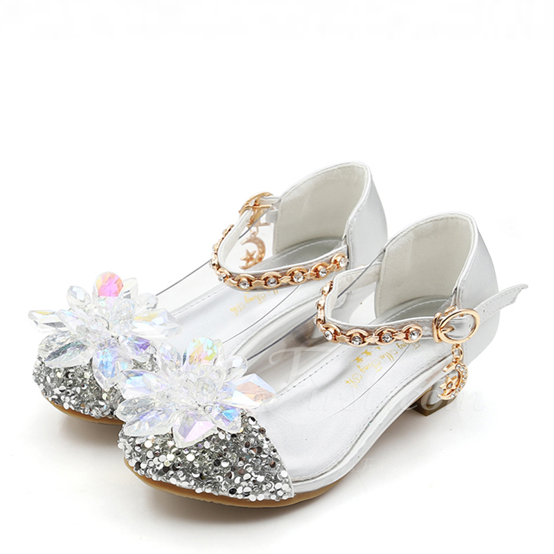 28d1d73891bd2 Girl s Round Toe Closed Toe Leatherette Sparkling Glitter Low Heel Flats  Flower Girl Shoes With Crystal  185201