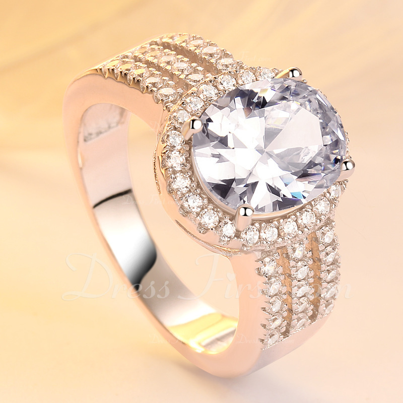 Sterling zilver Zirconia Halo Ovale Snit Belofte ringen Bruids sets Stapelbare ringen