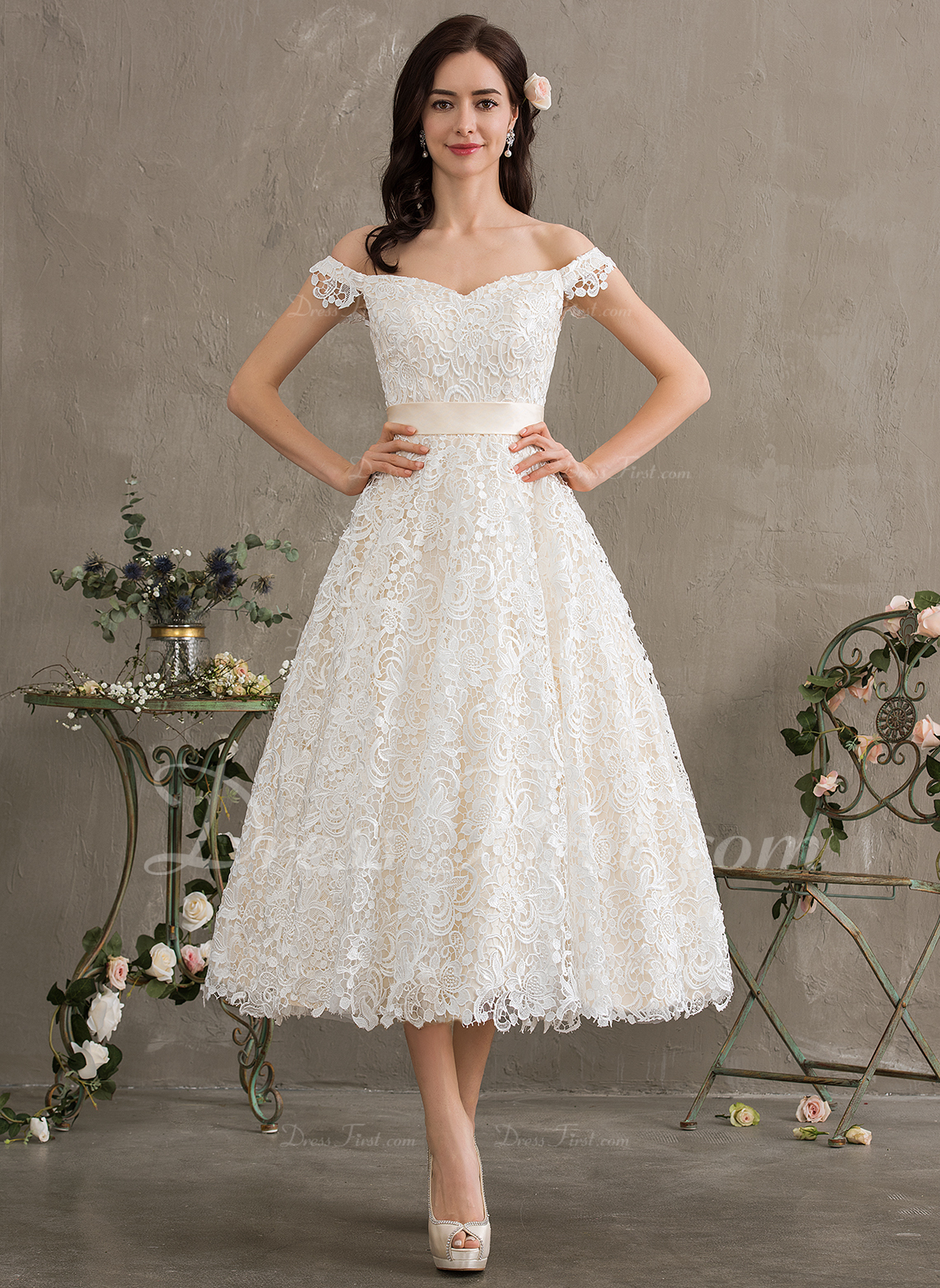 Us 20199 Ball Gownprincess Off The Shoulder Tea Length Lace Wedding Dress With Bows Jjshouse