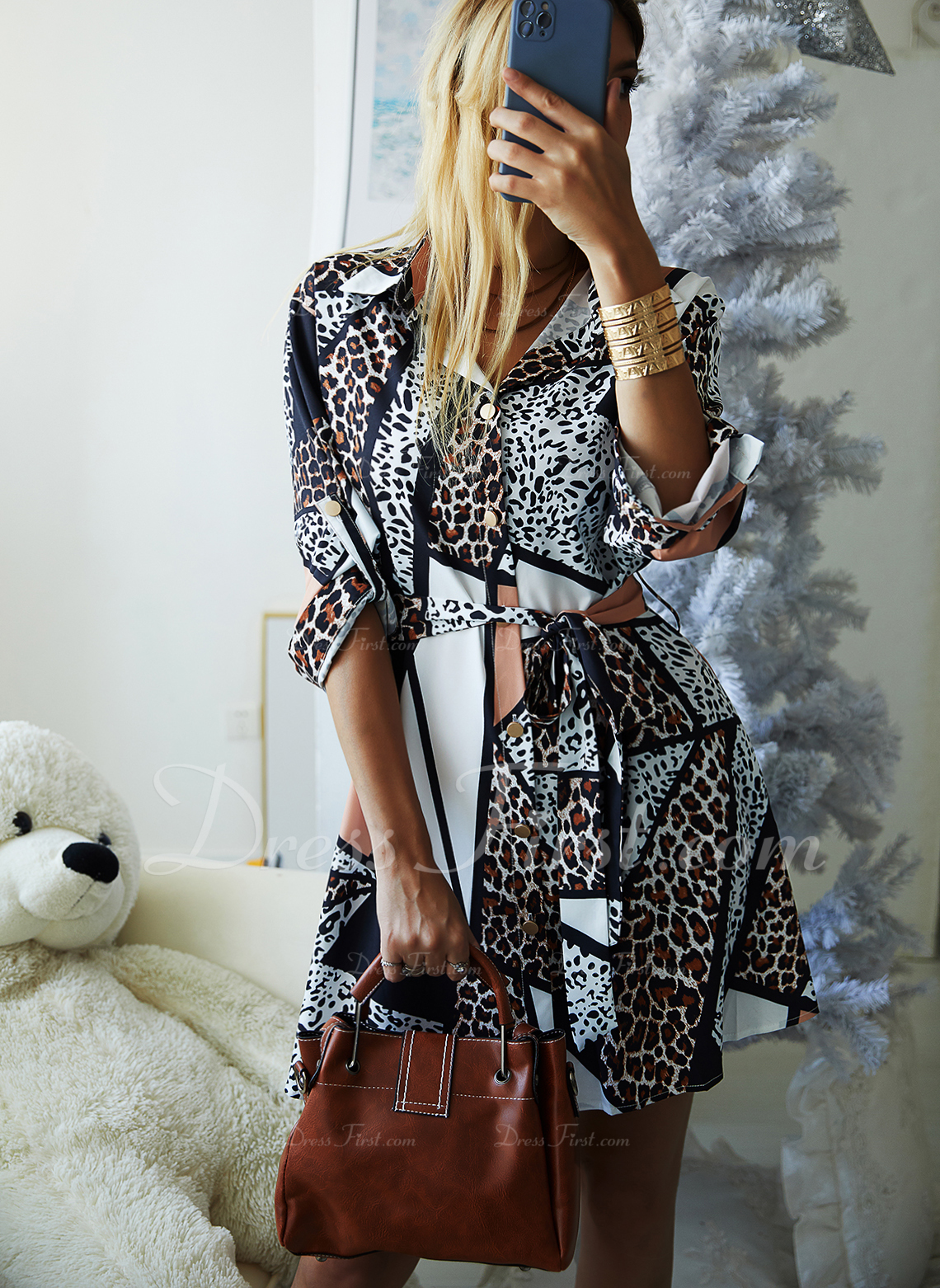 Leopardo Vestido línea A Manga Larga Mini Casual Camisa Patinador Vestidos de moda