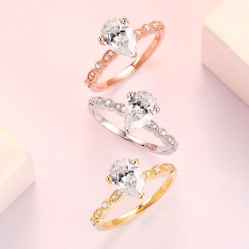 Sterling zilver Zirconia stapelbaar Halo Perenbesnoeiing Verlovings ringen Belofte ringen