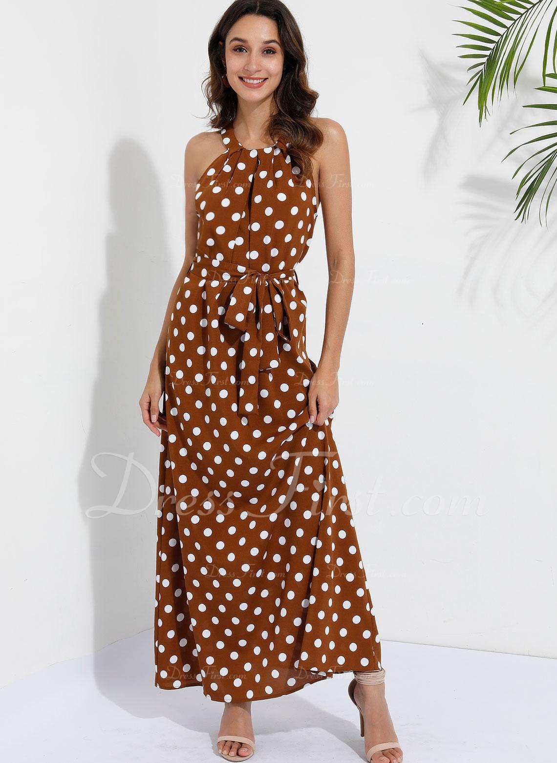 Maksimum Halterneck Polyester/Bomuldsblanding Print/Polka prik Uden Ærmer Mode kjoler