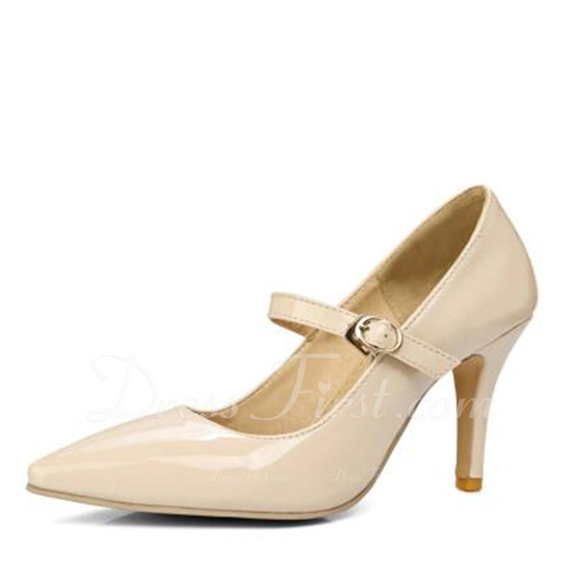 女性用 レザーレット スチレットヒール パンプス クローズド足 とともに バックル 靴